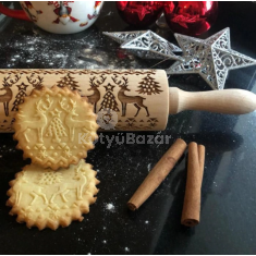 Karácsonyi mintás sodrófa, mintás nyújtófa, kekszmintázó sodrófa